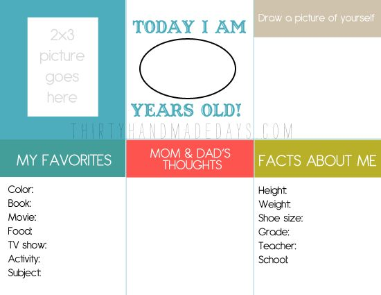 """FREE..Printable birthday questionnaire for kids, to capture """"them"""" on their birthday"""