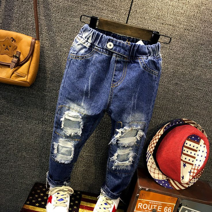 Fashion Denim Pants Boys Ripped Jeans 2-10 Yrs Baby Boys Jeans Kids Clothes Cotton Casual Children's Jeans Kids Trousers