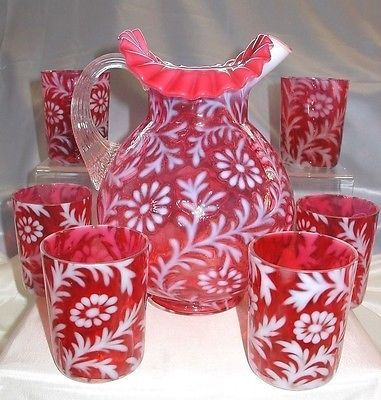 FENTON-GLASS-034-SRC-MINT-50s-034-CRANBERRY-034-OPALESCENT-034-DAISY-FERN-034-7pc-034-BEVERAGE-WATER