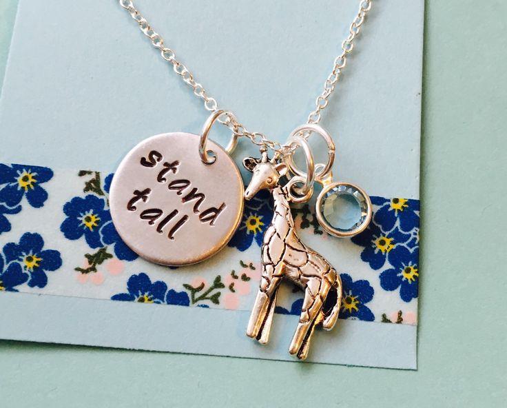 Giraffe Necklace, Stand Tall, Giraffe Jewelry, Dream Big Necklace with Giraffe Charm, Animal Jewelry, Aim High Stand Tall