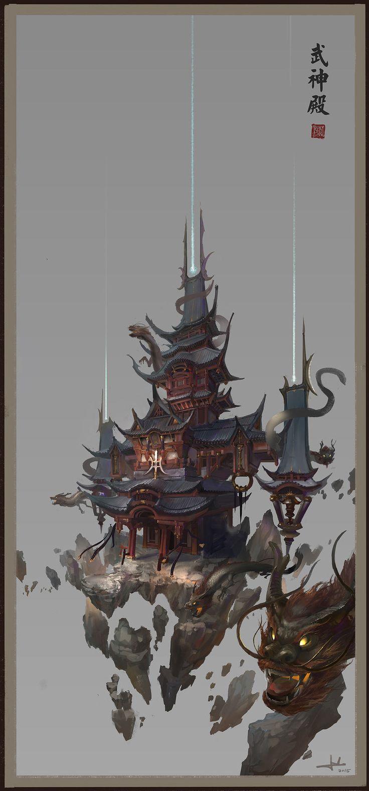 Wushen Temple, Chen Cheng on ArtStation at https://www.artstation.com/artwork/B6d4z