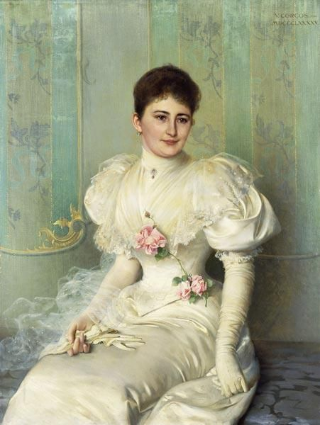 1895 Vittorio Matteo Corcos - Portrait of a Lady, Seated Three Quarter Length, Wearing a White Dress