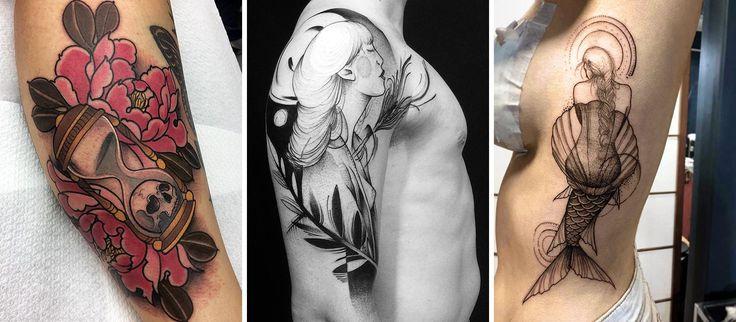 Em 2016 alguns artistas brasileiros se destacaram na cena da tatuagem. Selecionamos 21 deles. Nessa foto os trabalhos de Monique Peres, João Chew e Sandra Cunha. #tattoo #tatuagem #neotradicional #blackwork #fineline