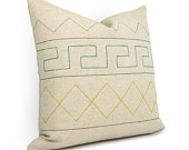 Aztec geometric pillow cover - Teal green, yellow, gray, black on natural beige canvas geometric decorative pillow case - 16x16 pillow cover