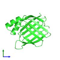 <ul class ='image_legend_ul'>The deposited structure of PDB entry 1cbs coloured by chain and viewed from the front. The entry contains: <li class ='image_legend_li'>1 copy of Cellular retinoic acid-binding protein 2</li><li class ='image_legend_li'>There is 1 non-polymeric molecule<ul class ='image_legend_ul'><li class ='image_legend_li'>1 copy of RETINOIC ACID</li></ul></li>