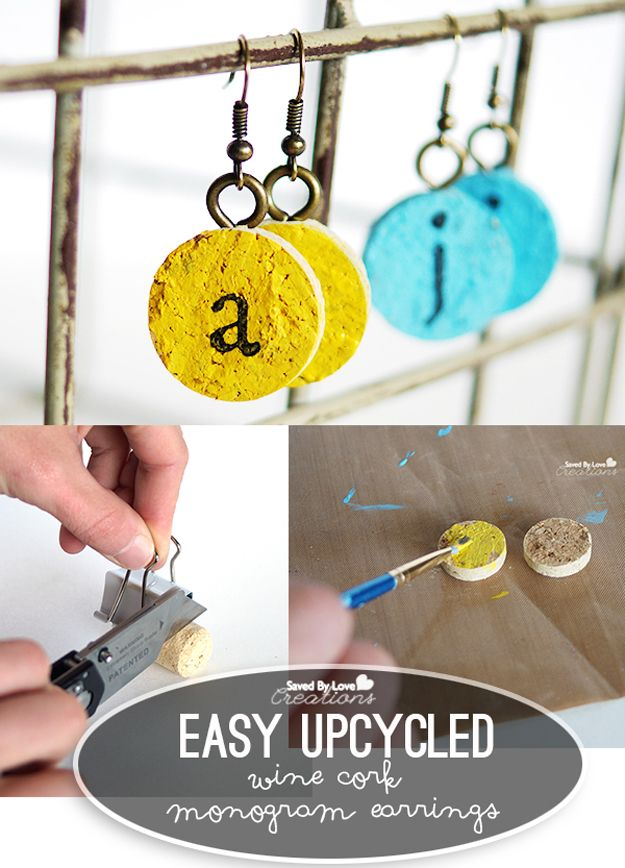Cool DIY Easy Monogram Earrings | Easy DIY Jewelry Wine Cork Crafts by DIY Ready at http://diyready.com/more-wine-cork-crafts-ideas/