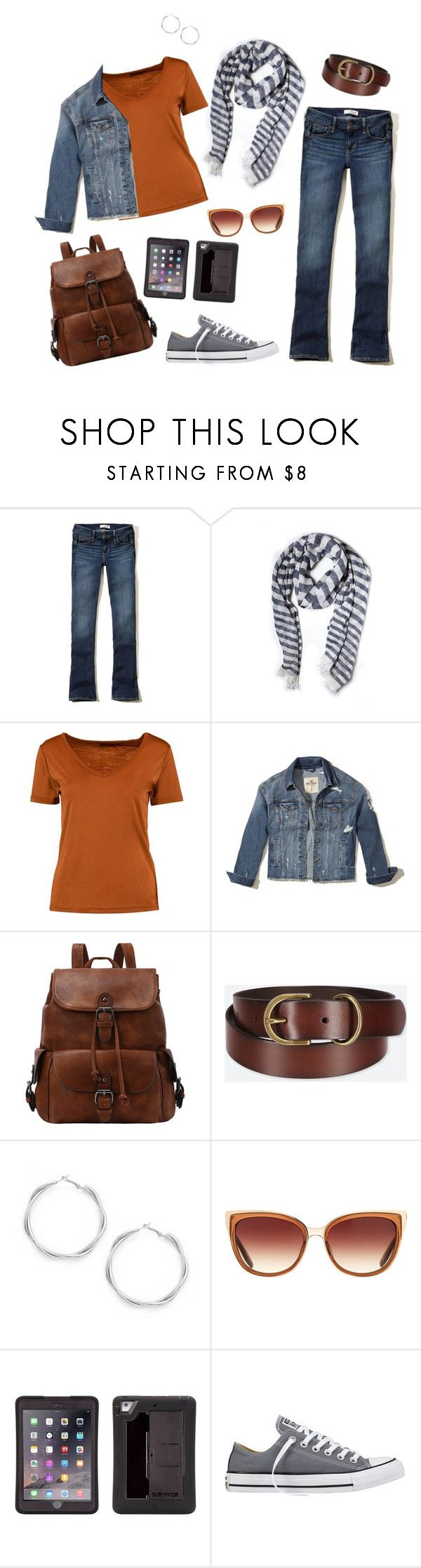 """""""#20"""" by chris-boyce ❤ liked on Polyvore featuring Hollister Co., Boohoo, Uniqlo, Barton Perreira, Griffin, Converse, orange, converse, Jeanjacket and CasualChic"""