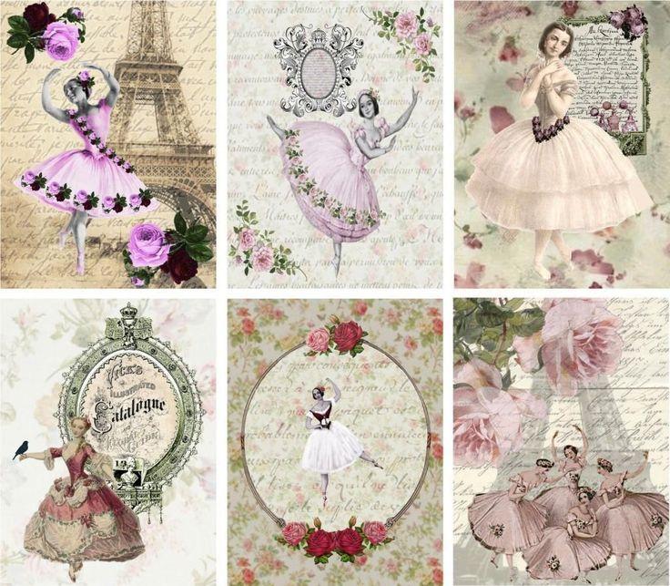 6 Ballet Ballerina Lady Vintage 155 lb Laminate Paper Craft Card Scrapbook Tag | eBay