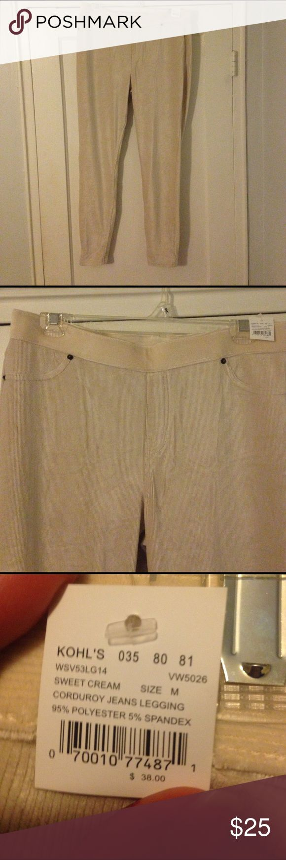 """Brand new Vera Wang corduroy leggings New with tags cream colored corduroy leggings. Size is listed as """"medium"""" I am thin-framed and 5'8"""" and they are too long as well as too large in the waist for me. Simply Vera Vera Wang Pants Leggings"""