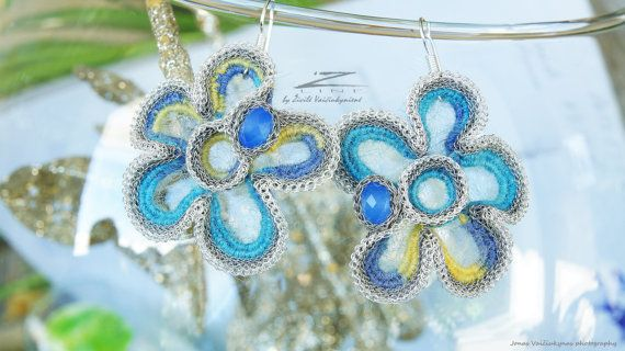 Hand crocheted earrings  Knitted jewelry  Spring mood  by ZetLine