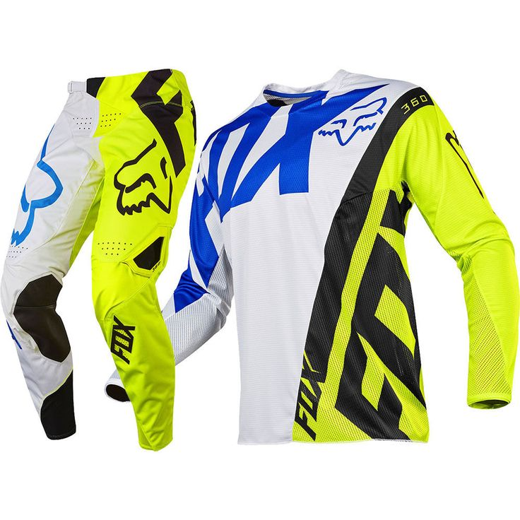 Fox Racing 2017 Kids Mx NEW 360 Creo White FLO Yellow Youth Motocross Gear Set