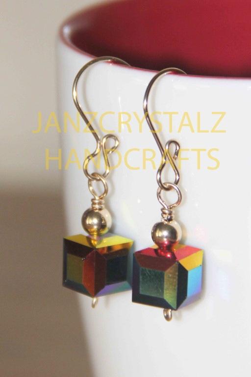 Swarovski Cube Earrings   Color: Jet Black AB