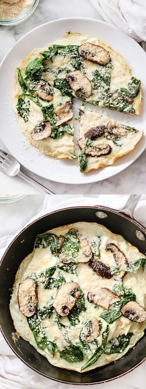 Protein Spinach and Mushroom Egg White Frittata is a healthy breakfast for one | foodiecrush.com