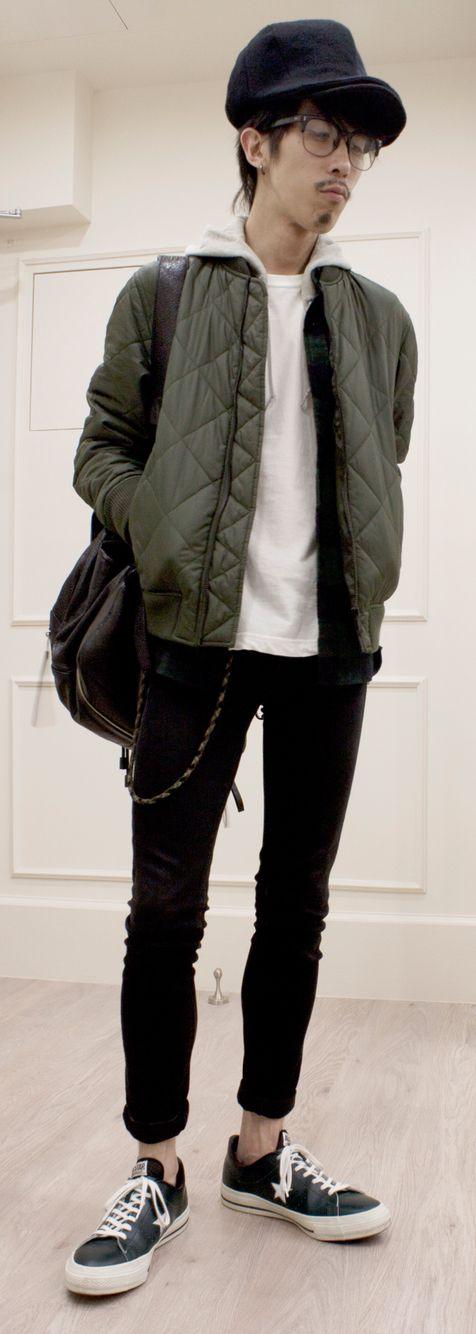 Top cap: #CA4LA Bottom cap: N/A Bomber jacket: #muji Flannel shirt : #muji Hoodie: #uniqlo Tee: #muji Jeans: #uniqlo Trainers: #converse Rucksack: #balenciaga