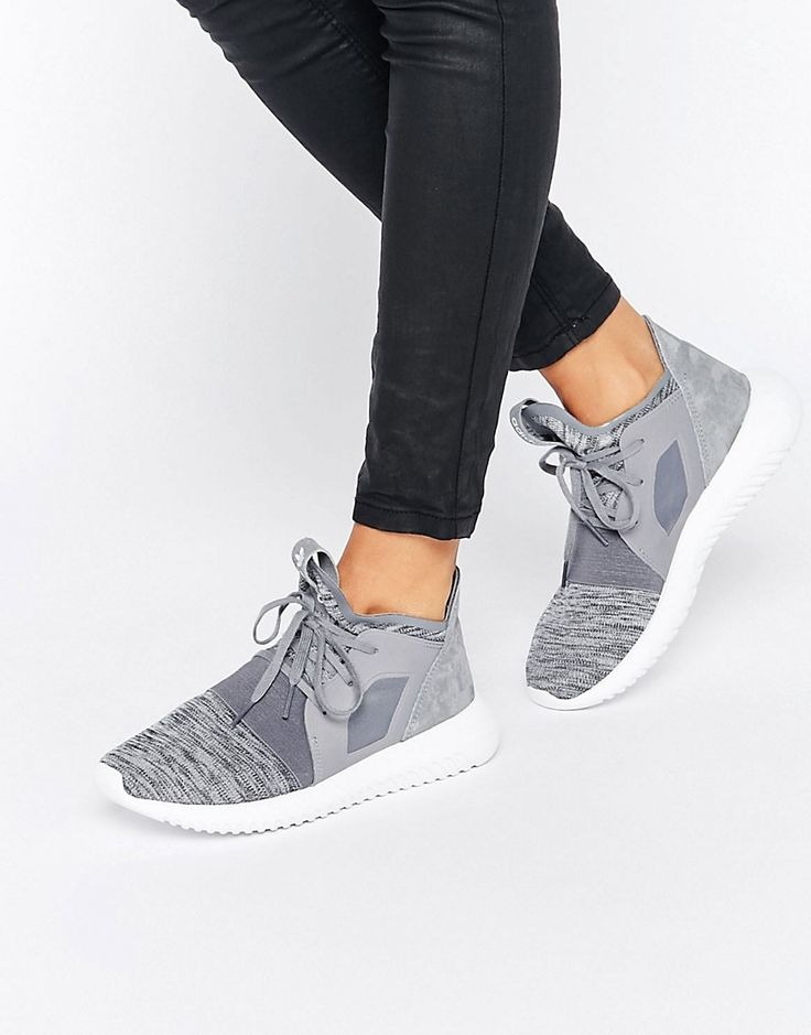 Image 1 of adidas Originals Grey Marl Tubular Defiant Trainers