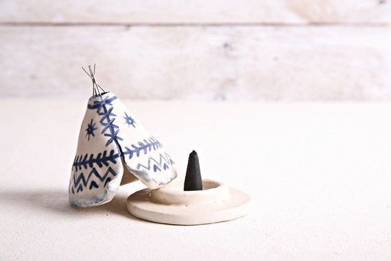 Incense Burner TeePee that smokes Ceramic Navy by JessicaHicklin