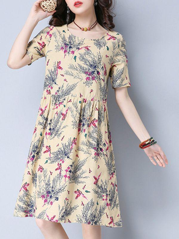 83c57349cb8 Floral dresses dillards summer women floral print o-neck short sleeve knee-length  dresses