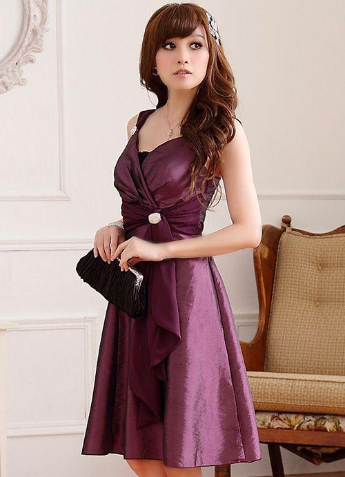 Dinner With Rich Abundance Thin Waist V-neck Diamond Buckle Strap Dress Strapless Polyester Purple Party Dress