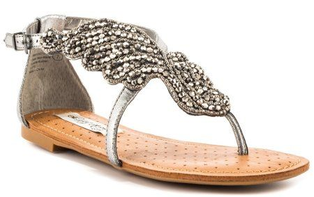 Beautiful silver flat summer sandals 2014 by Naughty Monkey with stunning bead design for a flashy strut.
