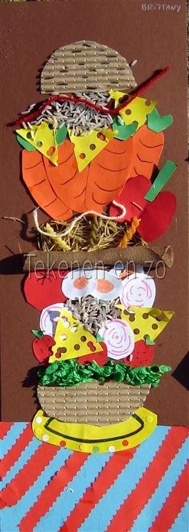 Door leerlingen van groep 8   Benodigdheden:  fotokarton A3 gehalveerd stukje ribkarton restjes gekleurd papier crepepapier tijdschrift...