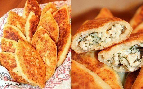 Жареные пирожки из творожного теста с куриным фаршем, сыром и зеленью | Про рецептики - лучшие кулинарные рецепты для Вас!