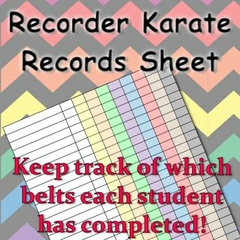 Recorder Karate Records (rainbow chevron): Easily track students' progress in the recorder karate program with these color-coded record sheets. Use it as a check list or track grades on each belt level. Available in many designs to coordinate with music teacher planners.