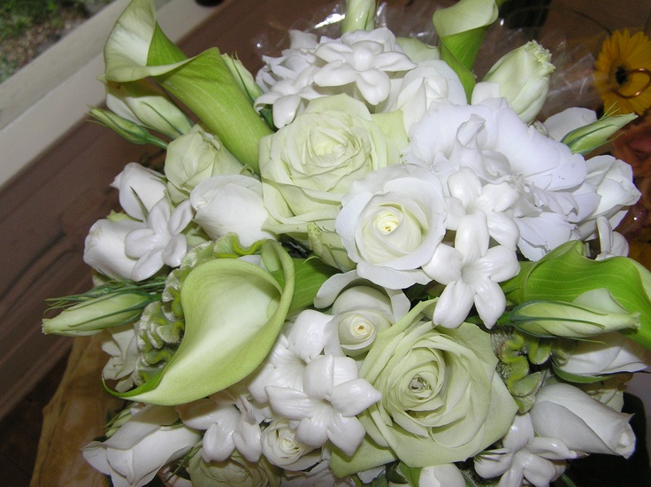 Bridesmaid's Bouquet - SuperGreen Roses, Green Miniature Calla Lilies, Green Coxcomb, White Roses and Stephanotis and White Lisianthus