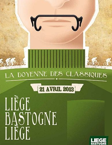 The race poster for Liège-Bastogne-Liège, the oldest one day race of the year.