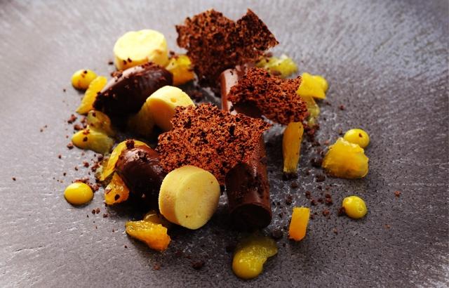 Dark chocolate and orange ganache, orange parfait and cocoa nib tuille