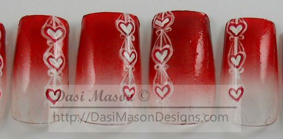 Heart Ribbons Instant Acrylic Nail Set by dasimason on Etsy