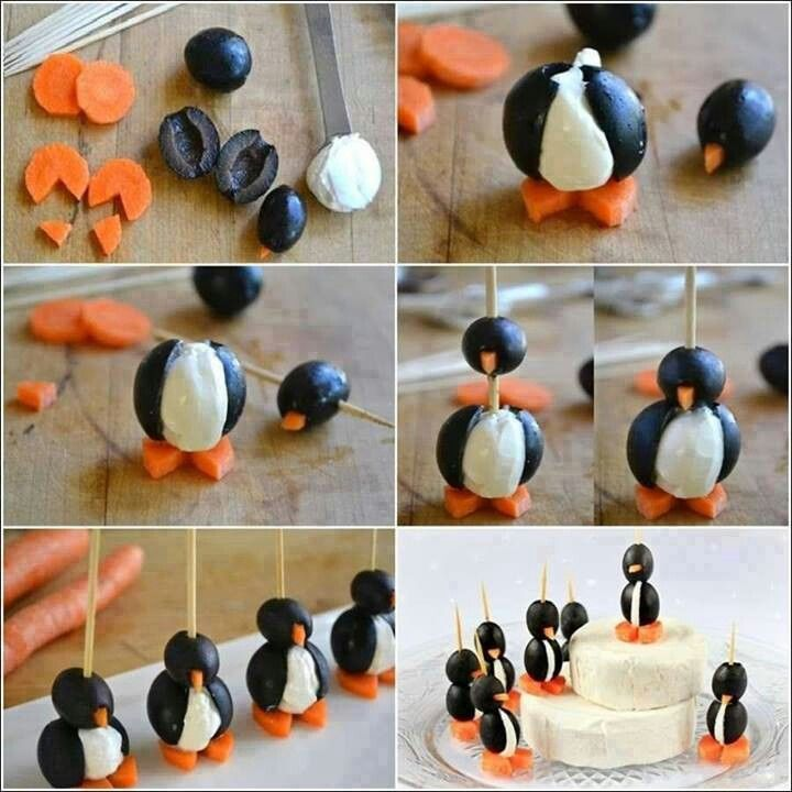 Cute! Penguins from cheese, olives and carrots.