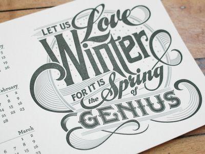 Winter Letterpress Calendar Card
