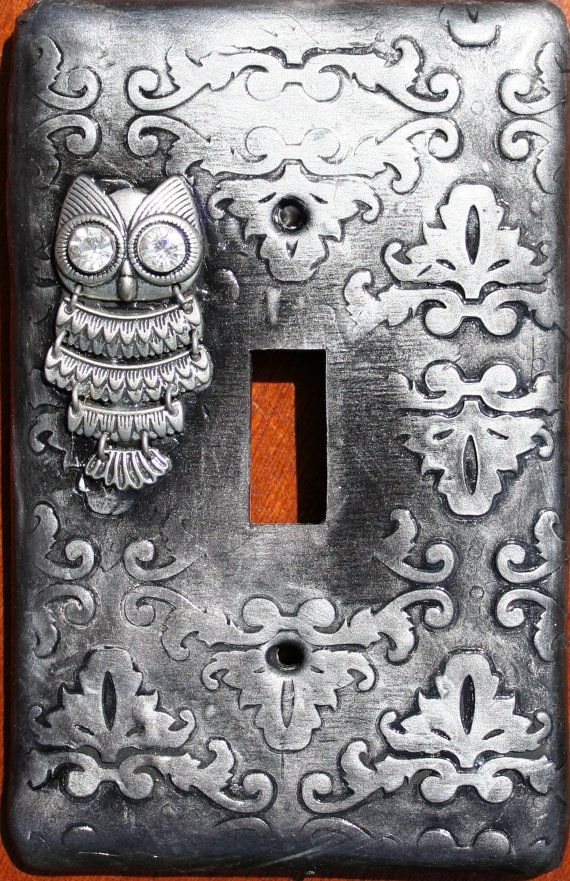 Steampunk Inspired Silver Owl Clay Light Switch Plate
