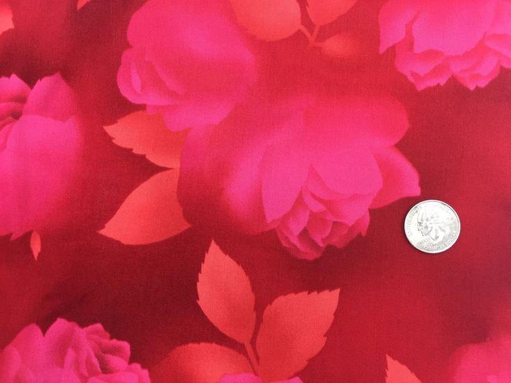 Seattle KONA BAY Floral Fabric BTY RED PINK Orange Blender Tonal IMPR-02 LG ROSE | Crafts, Fabric | eBay!