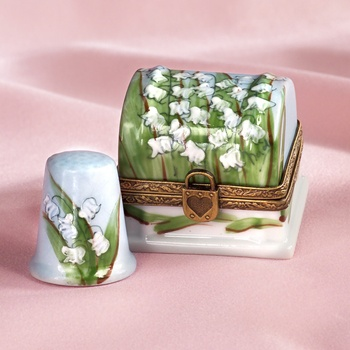 Lilly of the Valley Thimble Box | French handpainted Limoges porcelain box with antique brass trim.