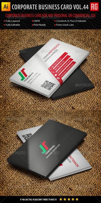 Corporate Business Card Vol 44 Corporate Business Card Layered Business Cards Create Business Cards