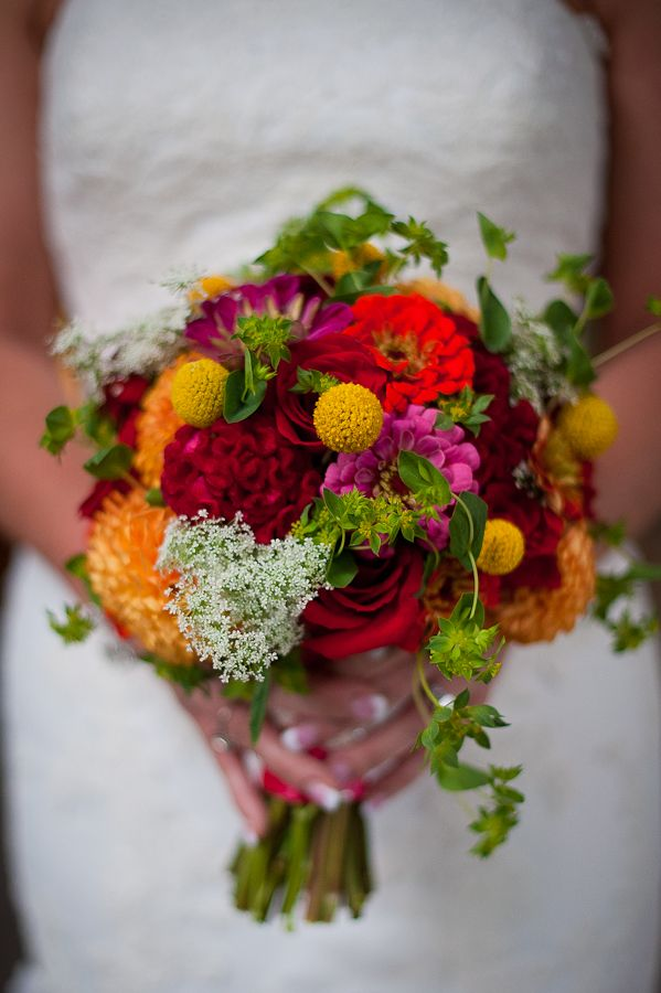 Paisley Petals: Wedding Preview Event: The Bride's Bouquet was a colorful mix of zinnias, dahlias, craspedia, celosia, bupluerum, roses and queen anne's lace.