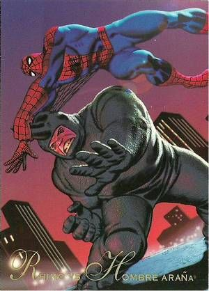 Marvel Comics Rhino | 1995*Rare* Marvel Comics Pepsi Cards - Rhino Vs Hombre Arana (Spider ...