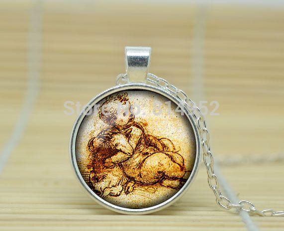 10 pcsLeonardo да Винчи рисунок ожерелье Леонардо да Винчи рисунок кулон Леонардо да Винчи вытяжки Стекла Кабошон NecklaceA0684