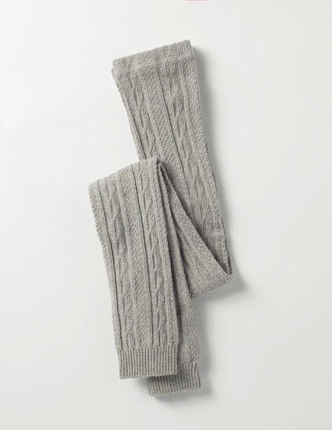 Cable Footless Tights (Grey Marl)