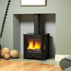 log burner - makes for a very warm and cozy basement