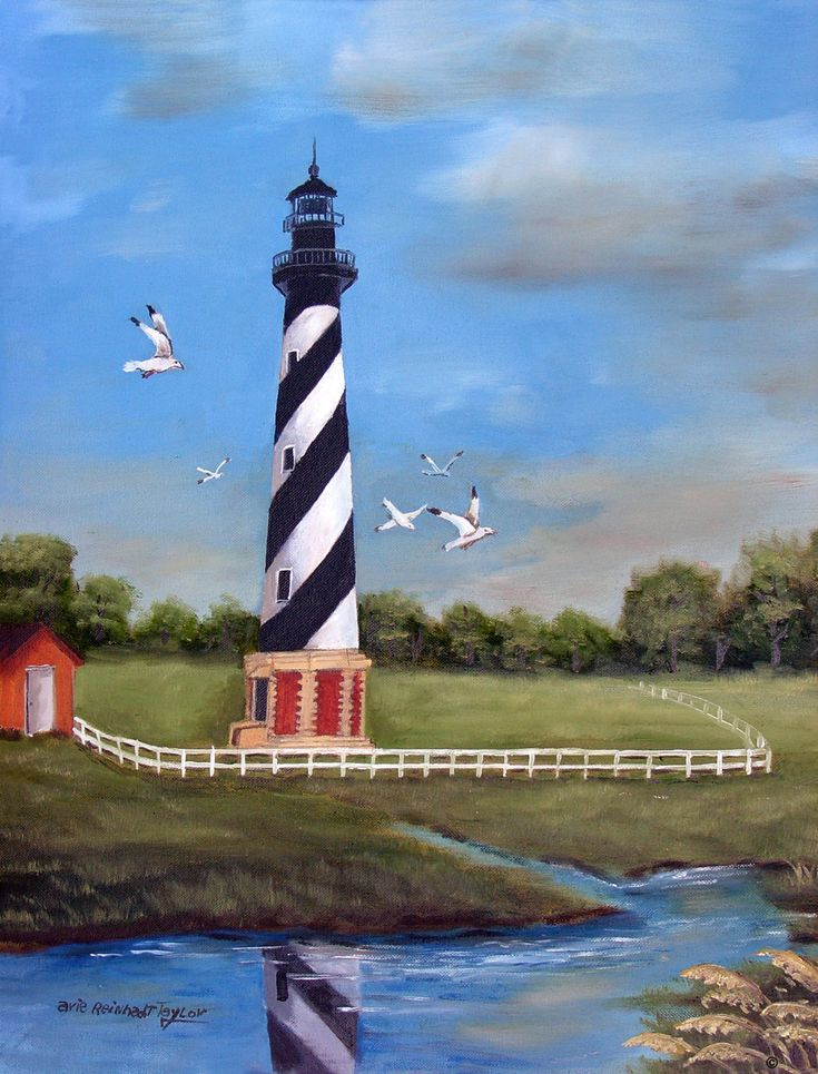 Cape Hatteras, Lighthouse Art, 20x24 Oil on Canvas, Framed Art, Seascape Painting, Folk Art Landscape, Sea Gull, Original Painting, Arie Tay by jagartist on Etsy
