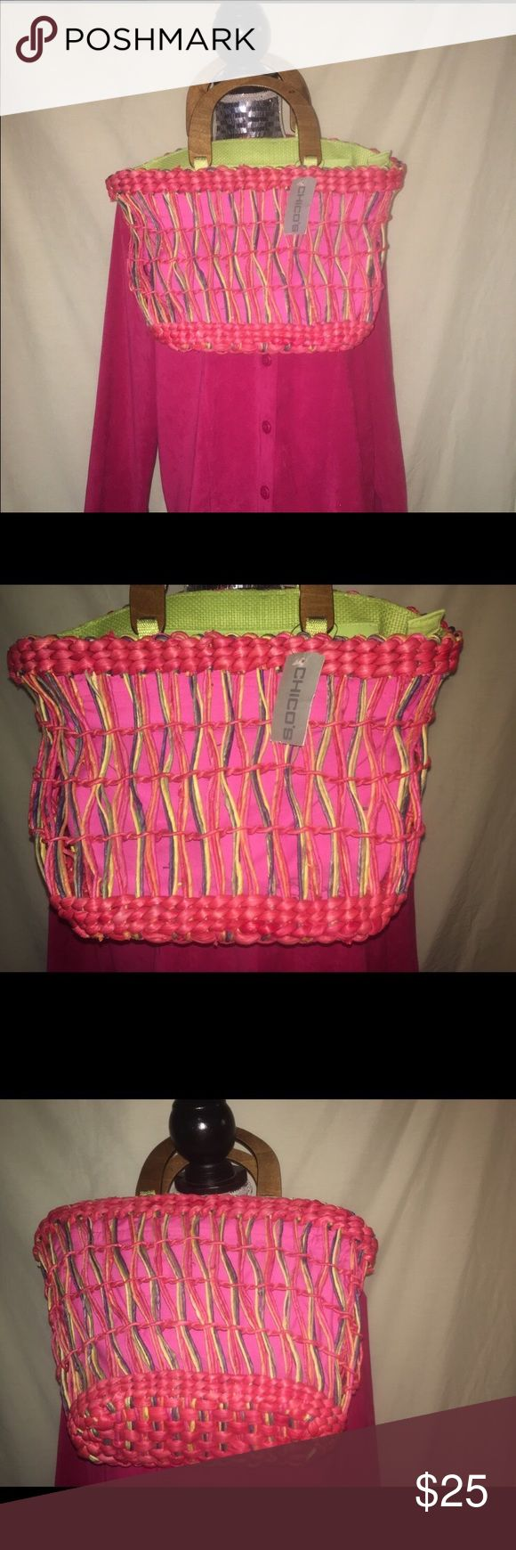 Chico's wicker summer basket Chico's hot pink and green summer wicker bag. I want to represent this honestly. I found this in the bottom of my closet still in the Chico's bag. Unfortunately there were other things on top of it, so it does not lie flat. I'm sure it would eventually with some coaxing, but it's just not my jam anymore. I'm straight up Coach these days. Inside is stellar. The colors are vibrant and eye catching. It is wicker so there are natural flaws. Seriously cute. Spring is…
