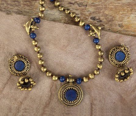 Handmade terracotta jewelry painted in blue & gold https://www.facebook.com/KavisTerracottajewellery