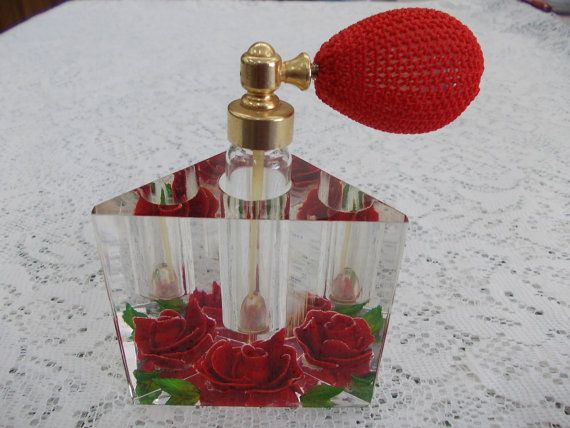 Red rose lucite triangular perfume bottle by DaysofYoreTreasures