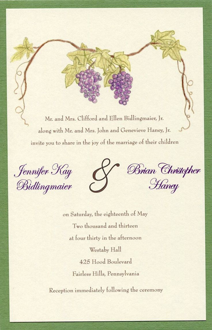 Grape Wedding Invitation - Grape Wedding Invitations Set - Vineyard Wedding - Fall Wedding Invitations Suite - Winery Invitation - Cellar by KardsbyKaylee on Etsy