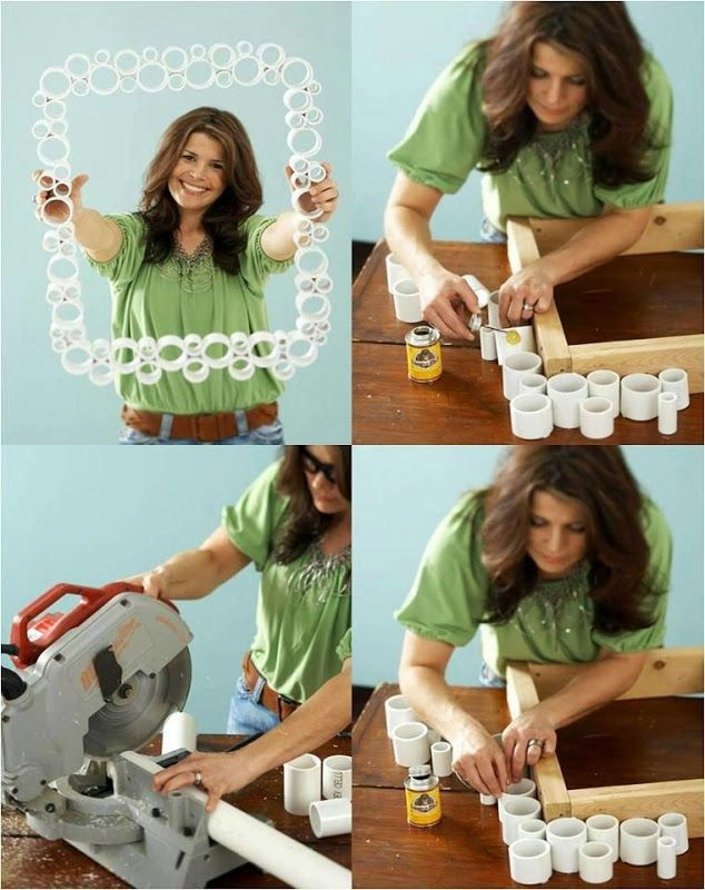 moldura feita com canos de PVC reciclagem