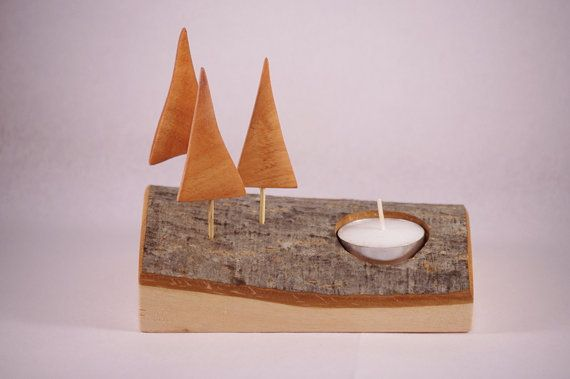Wooden candle holder Christmas trees candle by WoodMetamorphosisUK