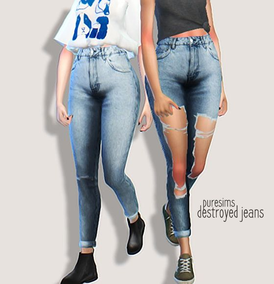 destroyed jeans • 3 swatches w/rip + 3 swatches without original mesh by @nyloa, BUT you need the mesh with an uv map edit by @nolan-sims for these to work!!! it can be found here download: simfileshare / mediafire