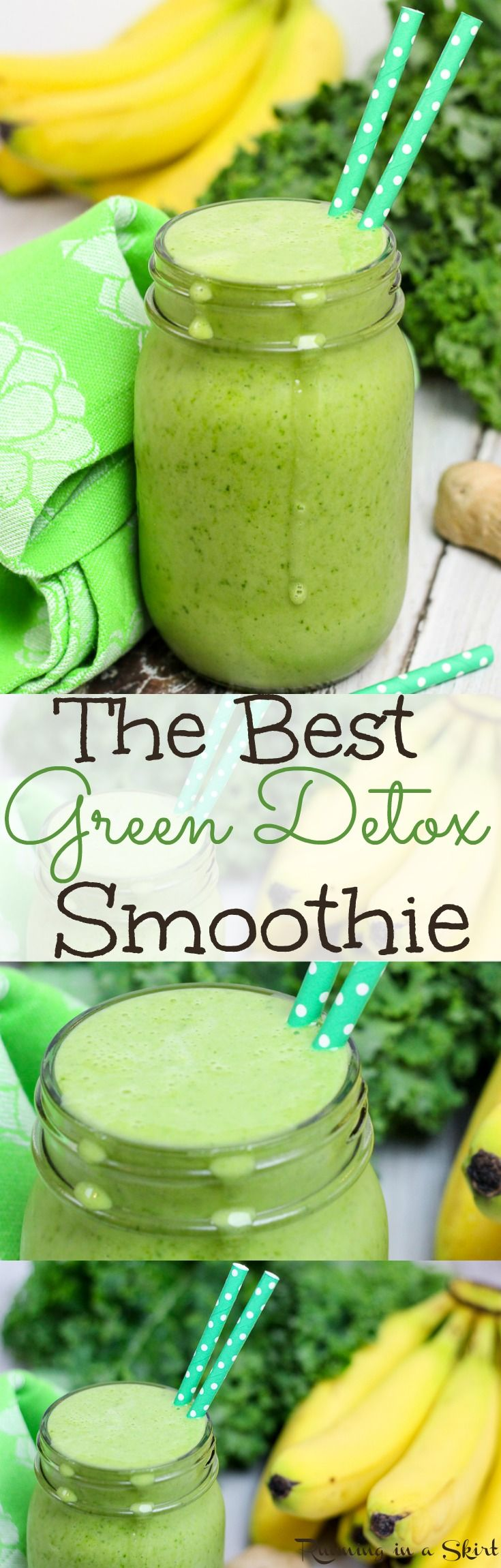 The best green smoothie recipe. Kale, Pineapple and Ginger Detox Green Smoothie.  Easy, healthy and simple! A great breakfast or way to start your mornings or health snack. Vegan and dairy free.  Great for inflamation with ginger and cinnamon!| Running in a Skirt